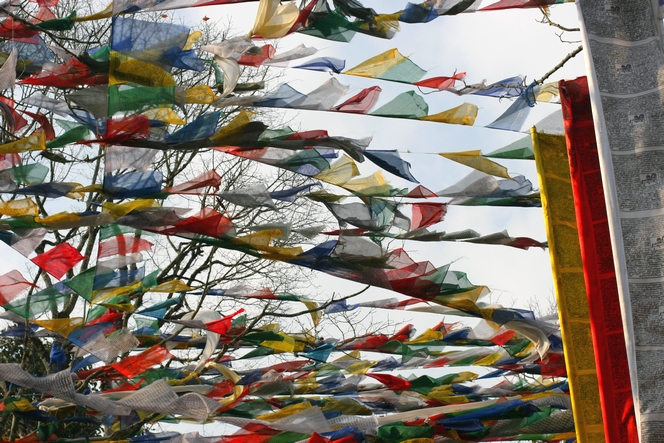 Drapeaux de prières à Darjeeling.