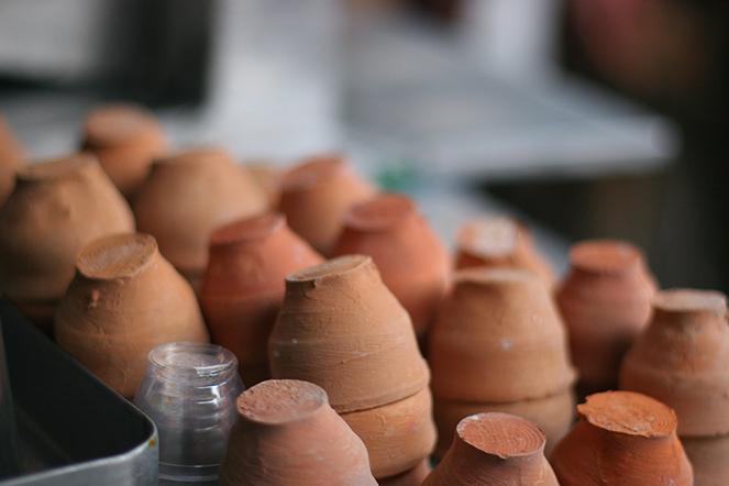 Les tasses en terre crue de Kolkata